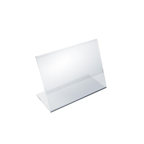 """Angled L-Shaped Sign Holder Frame with Slant Back Design 5""""x 3.5''High- Horizontal/Landscape, 10-Pack"""