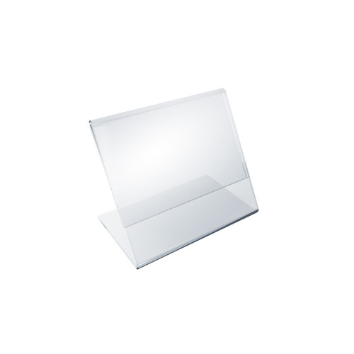 """Angled L-Shaped Sign Holder Frame with Slant Back Design 3.5""""x 2.5''High- Horizontal/Landscape, 10-Pack"""