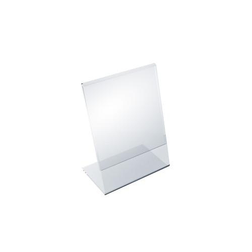 """Angled L-Shaped Sign Holder Frame with Slant Back Design 3.5""""x 5.5''High- Vertical/Portrait, 10-Pack"""