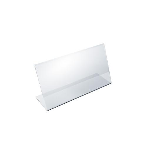 """Angled L-Shaped Sign Holder Frame with Slant Back Design 8.5""""x 3.5''High- Horizontal/Landscape, 10-Pack"""