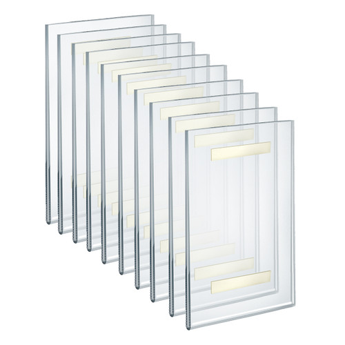 """Self Adhesive Tape Clear Acrylic Wall Sign Holder Frame 7"""" W x 11"""" H - Portrait/Vertical"""