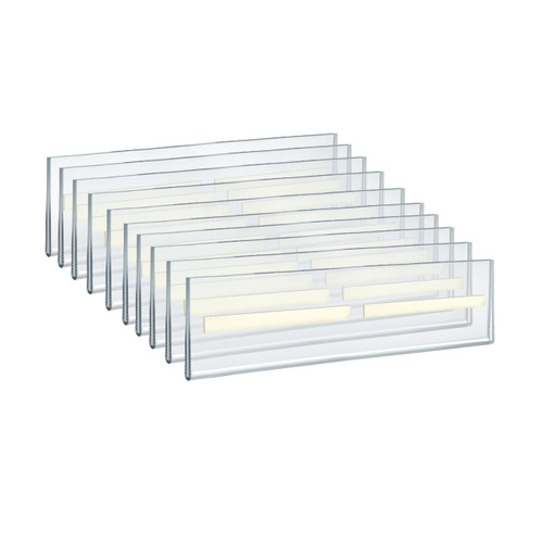 """Self Adhesive Tape Clear Acrylic Wall Sign Holder Frame 11"""" W x 2.5"""" H - Landscape/Horizontal"""