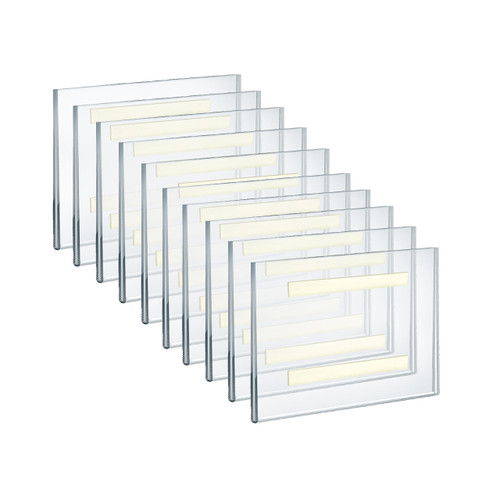 """Self Adhesive Clear Acrylic Wall Sign Holder Frame 8.5"""" W x 5.5"""" H Landscape / Horizontal"""
