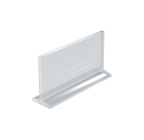 """Top Loading Clear Acrylic T-Frame Sign Holder 8.5"""" Wide x 5.5'' High-Horizontal"""