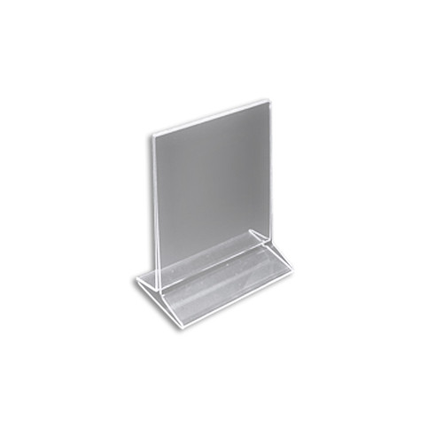 """Top Loading Clear Acrylic T-Frame Sign Holder 5.5"""" Wide x 7'' High-Vertical"""
