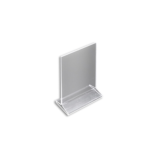 """Top Loading Clear Acrylic T-Frame Sign Holder 5"""" Wide x 7'' High-Vertical"""