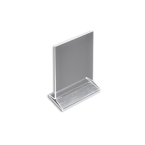 """Top Loading Clear Acrylic T-Frame Sign Holder 5.5"""" Wide x 8.5'' High-Vertical"""