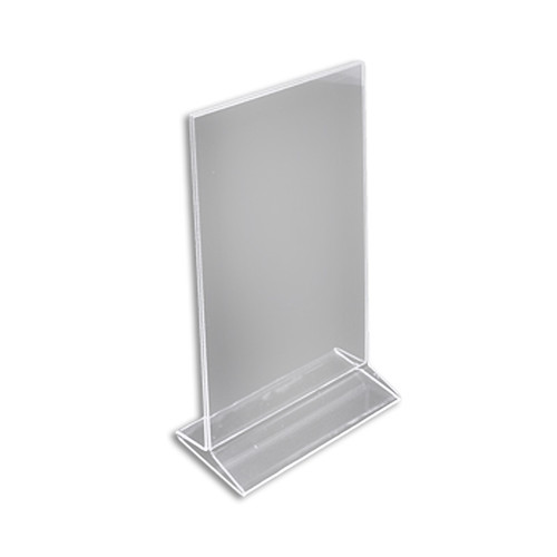 """Top Loading Clear Acrylic T-Frame Sign Holder 7"""" Wide x 11'' High-Vertical"""