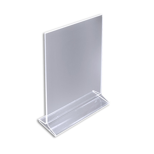 "Top Loading Clear Acrylic T-Frame Sign Holder 8.5"" Wide x 11'' High-Vertical/Portrait"