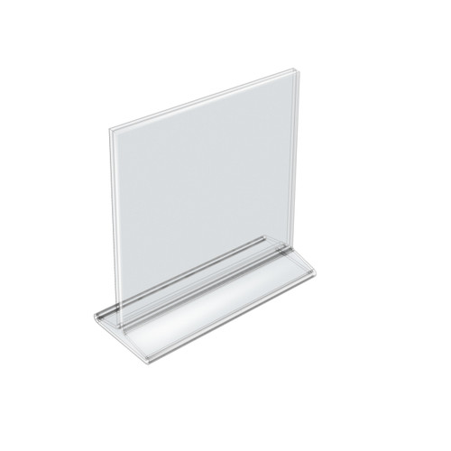 """Top Loading Clear Acrylic T-Frame Sign Holder 8.5"""" Wide x 8.5'' High-Vertical"""