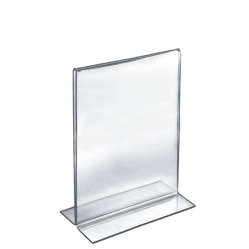 """Bottom Loading Clear Acrylic T-Frame Sign Holder 8.5"""" Wide x 14'' High-Vertical/Portrait"""