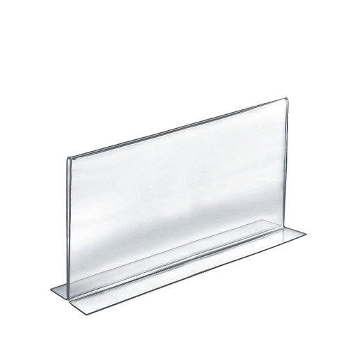 """Bottom Loading Clear Acrylic T-Frame Sign Holder 14"""" Wide x 8.5'' High-Horizontal/Landscape"""