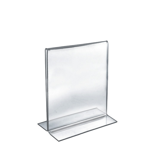 "Bottom Loading Clear Acrylic T-Frame Sign Holder Holder 8.5"" Wide x 11''High- Vertical/Portrait"