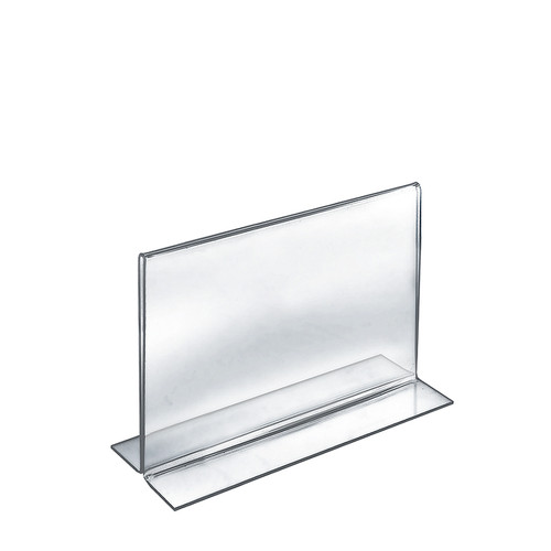 """Bottom Loading Clear Acrylic T-Frame Sign Holder 11"""" Wide x 8.5'' High-Horizontal/Landscape"""