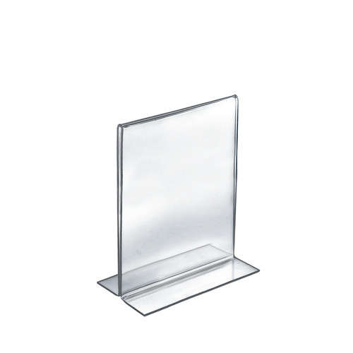 """Bottom Loading Clear Acrylic T-Frame Sign Holder 7"""" Wide x 11'' High-Vertical/Portrait"""