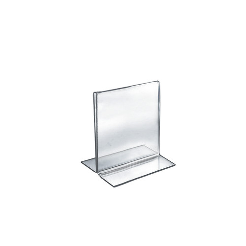 """Bottom Loading Clear Acrylic T-Frame Sign Holder 5.5"""" Wide x 7'' High Vertical/Portrait"""