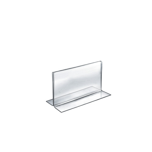 """Bottom Loading Clear Acrylic T-Frame Sign Holder 7"""" Wide  x 5'' High - Horizontal/Landscape"""