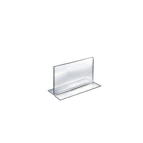 """Bottom Loading Clear Acrylic T-Frame Sign Holder 6"""" Wide x 4''High- Horizontal/Landscape"""