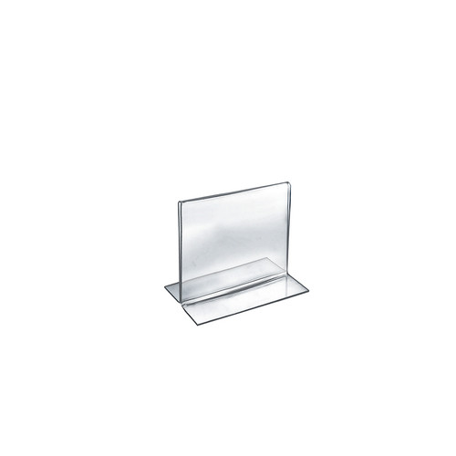 """Bottom Loading Clear Acrylic T-Frame Sign Holder 5"""" Wide x 5'' High-Vertical/Portrait"""