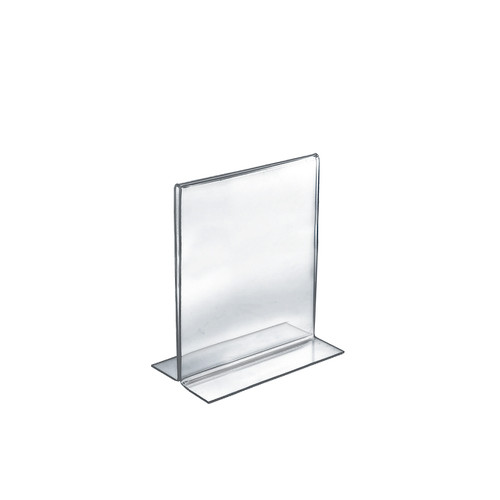 "Bottom Loading Clear Acrylic T-Frame Sign Holder 5.5"" Wide x 8.5'' High Vertical/Portrait"
