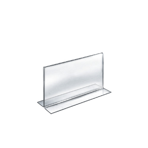 """Bottom Loading Clear Acrylic T-Frame Sign Holder 8.5"""" Wide x  5.5'' High-Vertical/Portrait"""