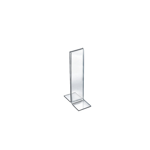 """Bottom Loading Clear Acrylic T-Frame Sign Holder 2"""" Wide x 8'' High-Vertical/Portrait"""