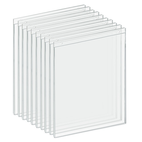 """Clear Acrylic Wall Hanging Frame 11"""" Wide x  14'' High- Vertical/Portrait, 10-Pack"""