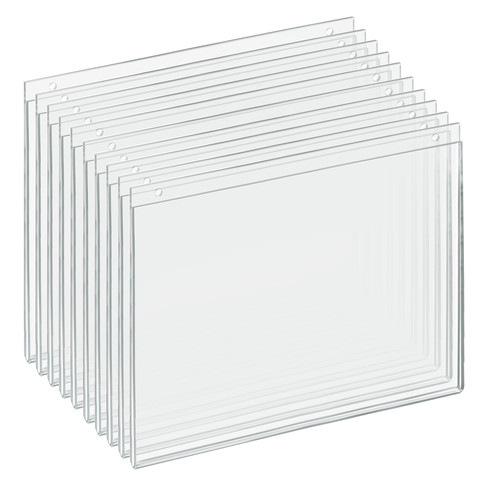 """Clear Acrylic Wall Hanging Frame 14"""" Wide x  11'' High- Horizontal/Landscape, 10-Pack"""