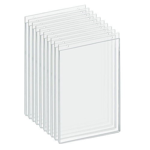 """Clear Acrylic Wall Hanging Frame 7"""" Wide  x 11'' High- Vertical/Portrait, 10-Pack"""