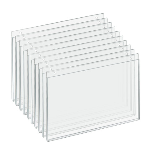 """Clear Acrylic Wall Hanging Frame 11"""" Wide  x 7'' High - Horizontal/Landscape, 10-Pack"""