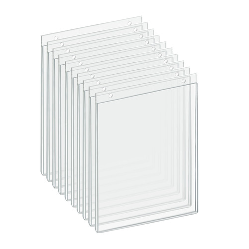 """Clear Acrylic Wall Hanging Frame 8"""" Wide x 10'' High  Vertical /Portrait, 10-Pack"""