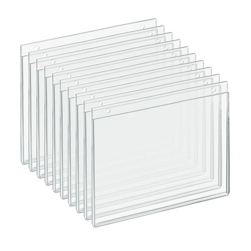 """Clear Acrylic Wall Hanging Frame 10"""" Wide x 8'' High Horizontal/Landscape, 10-Pack"""