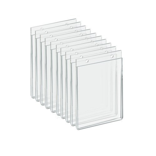 """Clear Acrylic Wall Hanging Frame 5"""" Wide x  7'' High - Vertical/Portrait, 10-Pack"""
