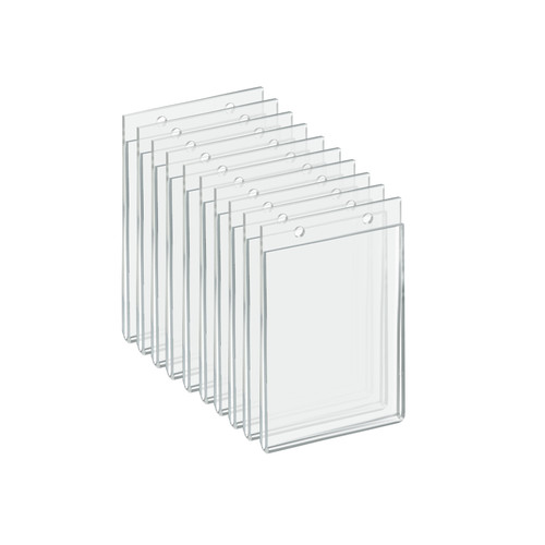 """Clear Acrylic Wall Hanging Frame 3.5"""" wide x 5'' High - Vertical/Portrait, 10-Pack"""