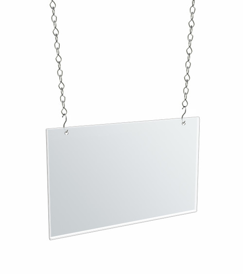 "Clear Acrylic Hanging Ceiling Poster Frame  14"" Wide X 11"" High Vertical/Portrait. Includes Hanging Hardware Kit"
