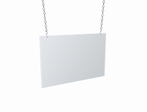 "Clear Acrylic Hanging Ceiling Poster Frame 17"" Wide X 11"" High Horizontal/Landscape. Includes Hanging Hardware Kit"