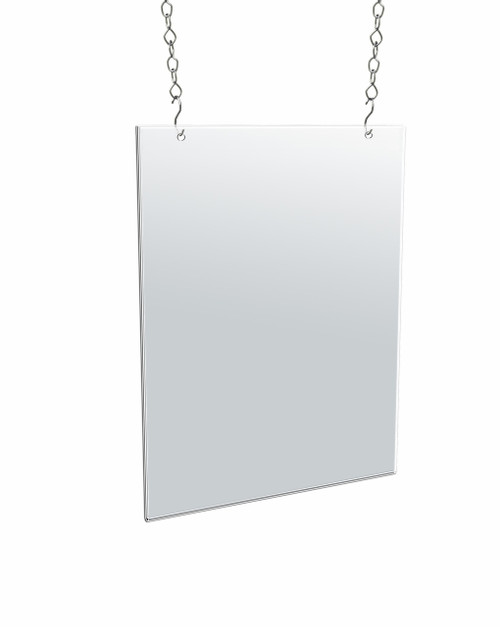 "Clear Acrylic Hanging Ceiling Poster Frame  11"" Wide X 14"" High Vertical/Portrait. Includes Hanging Hardware Kit"