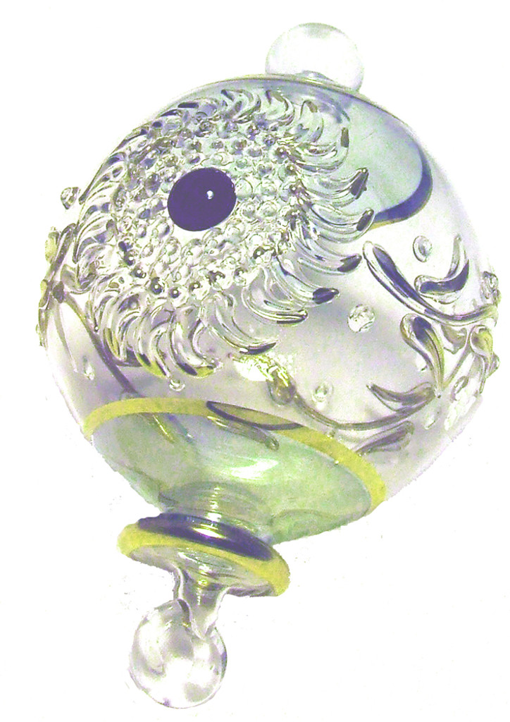 Exquisite glass ball ornament handmade in Egypt with filigree/flower
