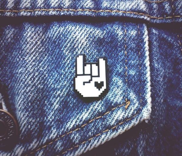 8-Bit Rock Pin - Black & White