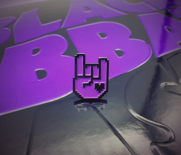 8-Bit Rock Pin - Black & Purple