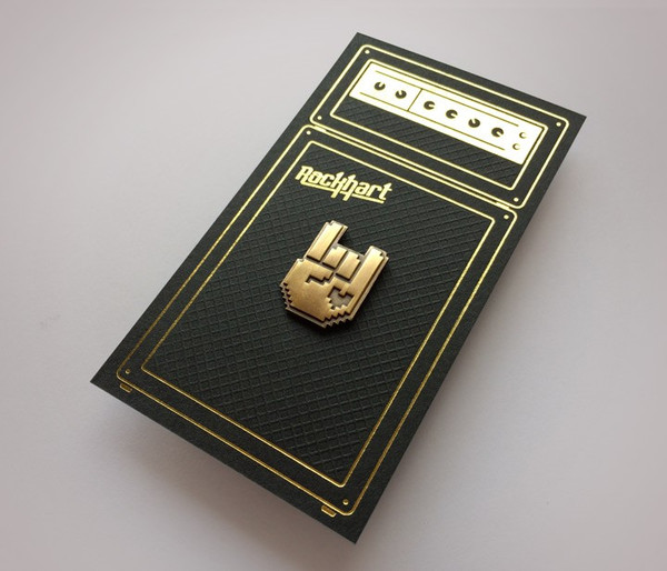 8-Bit Rock Pin - Gold