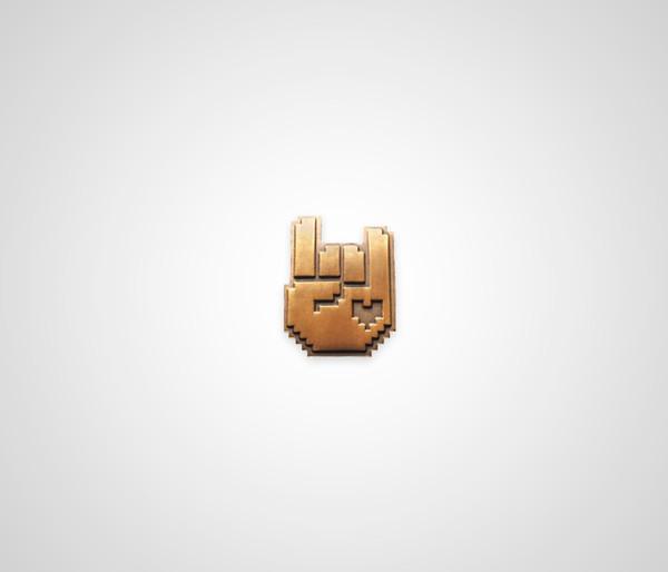 8-Bit Rock Pin - Gold