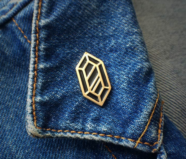 Rupee Pin - Gold & Black