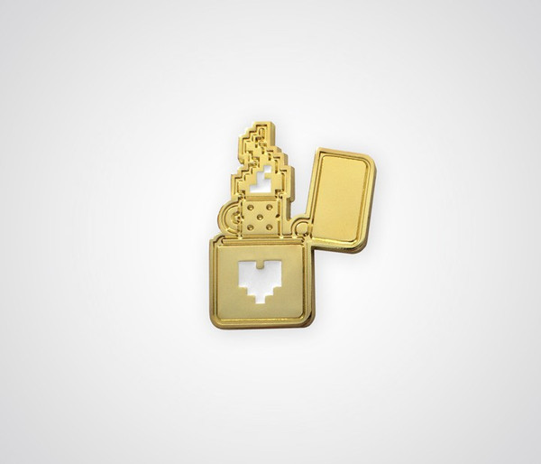 Pixel Lighter Pin - Gold