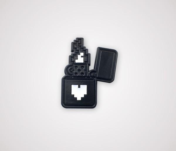 Pixel Lighter Pin - Black