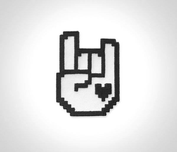 8-bit Rock Patch - Black & White