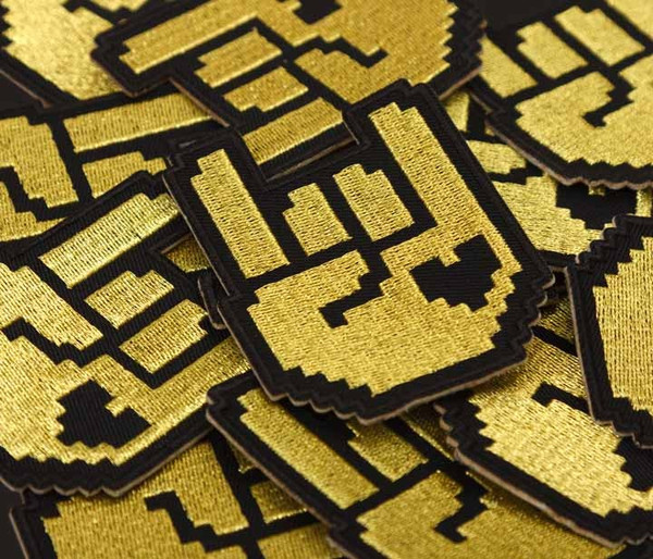 8-bit Rock Patch - Black & Gold