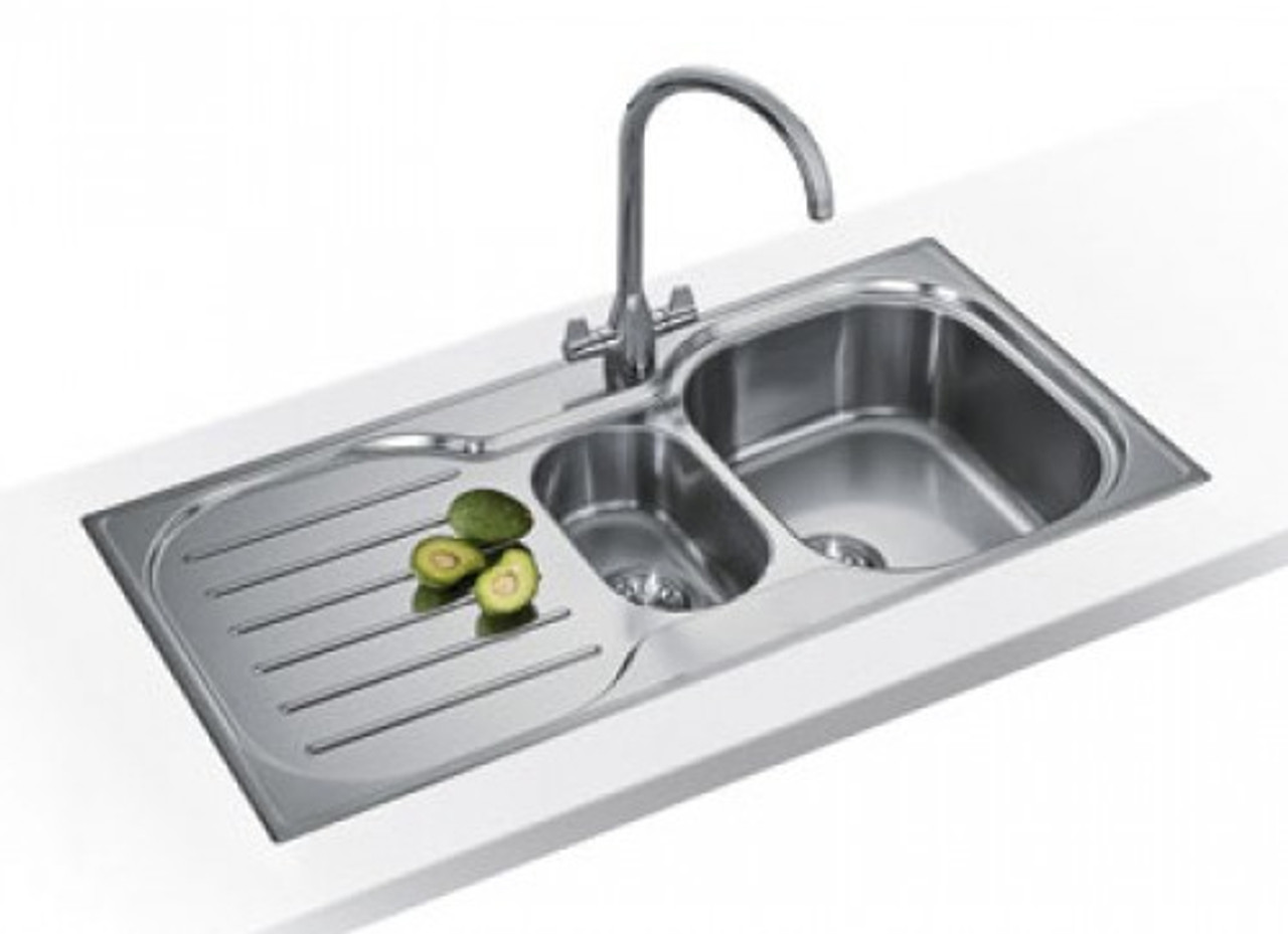 Franke Compact Plus CRXP651 Sink 1.5 Bowls Single Drainer Reversible  Complete with clips and basket strainer wastes Stainless Steel