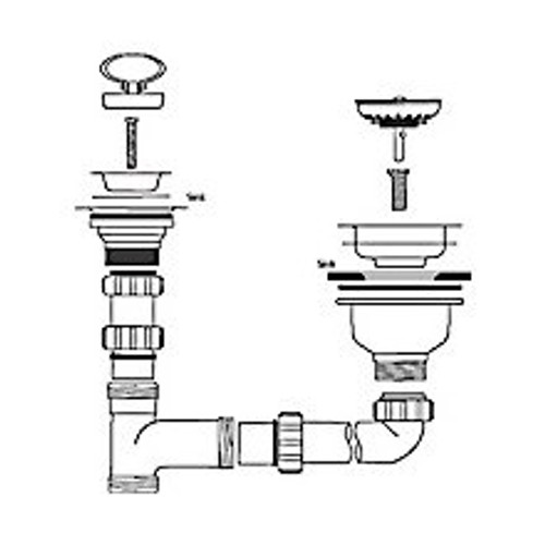 Caple Waste And Bowl Connection Kit Strainer Waste