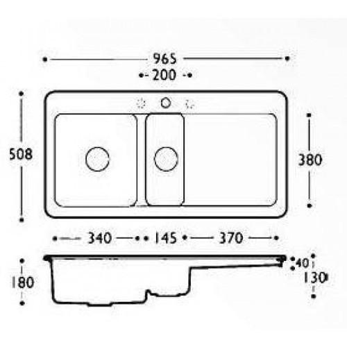 Thomas Denby Epicurean 1.5 Bowl - Double Tap Hole Sink